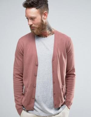 ASOS Розовато-лиловый хлопковый кардиган с карманами. Цвет: коричневый