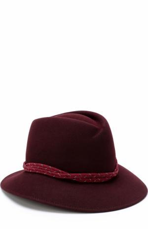 Фетровая шляпа Tyler с декором Maison Michel. Цвет: бордовый