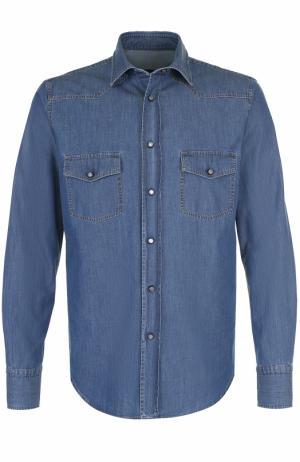 Хлопковая рубашка на кнопках в контрастную полоску Brioni. Цвет: голубой