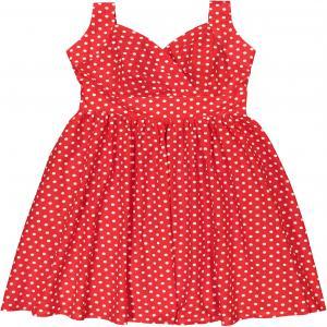 Платье расклешенное с вырезом и рисунком в горох MOLLY BRACKEN. Цвет: красный