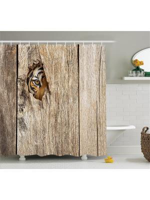 Фотоштора для ванной Любопытный тигр, старое окно, рыболовные блёсны, игра в покер, 180x200 см Magic Lady. Цвет: бежевый, белый, коричневый, оранжевый