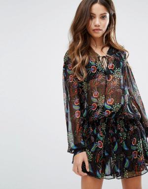 BA&SH Платье с ярусной юбкой и принтом. Цвет: черный