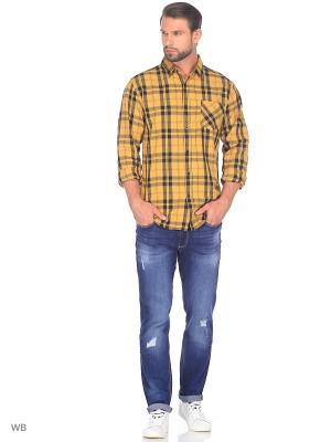 Рубашка Modis. Цвет: черный, горчичный, светло-оранжевый