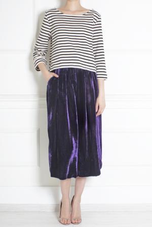 Юбка-брюки из бархата Azzaro. Цвет: виноградный, платиновый