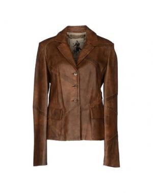 Верхняя одежда из кожи MARIELLA BURANI. Цвет: коричневый