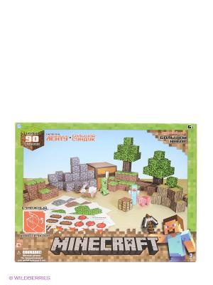 Конструктор из бумаги Большой набор Делюкс,90 деталей Minecraft. Цвет: зеленый, голубой