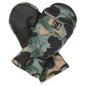 Варежки сноубордические DC Seger Camouflage Lodge Men Shoes. Цвет: черный,зеленый,коричневый