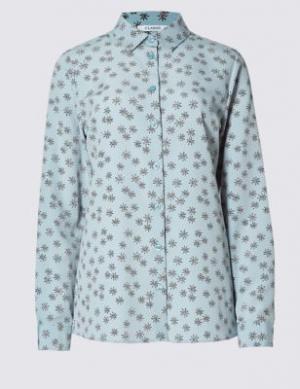 Принтованная блузка свободного кроя Classic. Цвет: синий микс