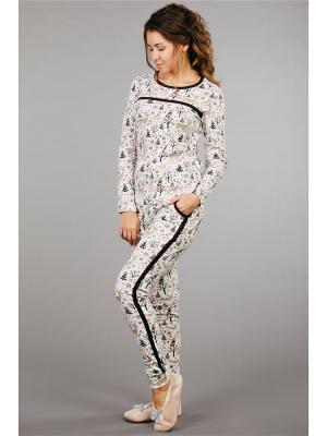 Пижама ОДДИС®. Цвет: молочный, коричневый
