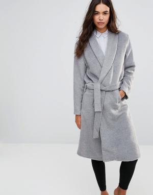 Unique 21 Пальто в стиле халата с поясом-завязкой. Цвет: серый