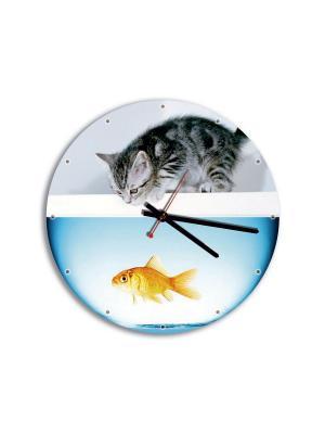 Часы стеклянные ДЕТИ 28 см Miolla. Цвет: голубой