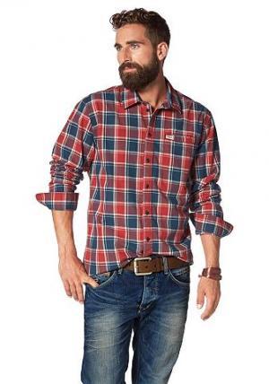 Рубашка BLEND. Цвет: красный/синий/экрю