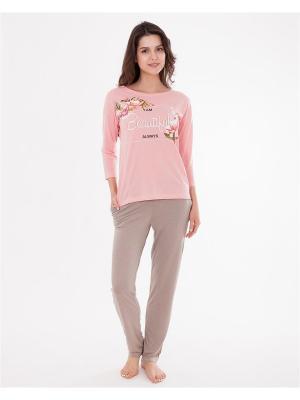 Комплект одежды: лонгслив, брюки Mark Formelle. Цвет: светло-коричневый, розовый, темно-бежевый