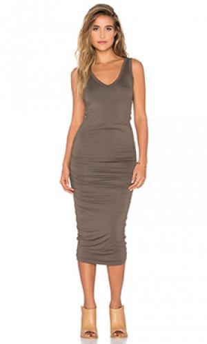 Платье миди alba Bishop + Young. Цвет: оливковый