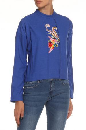 Блуза с аппликацией NATALIA PICARIELLO. Цвет: синий