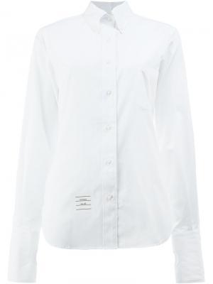 Рубашка на пуговицах с прорезями для больших пальцев Thom Browne. Цвет: белый