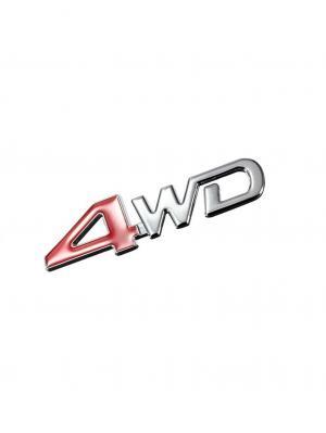 Наклейка 3D 4WD Racing WIIIX. Цвет: серебристый