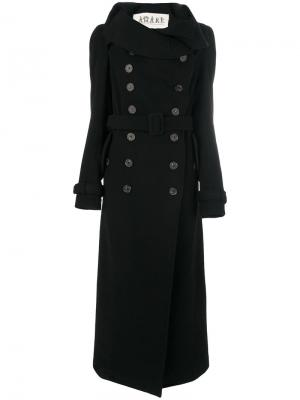 Двубортное пальто с поясом A.W.A.K.E.. Цвет: чёрный