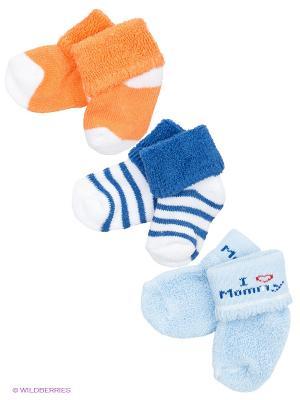 Носочки Love, 3 пары Luvable Friends. Цвет: синий, оранжевый