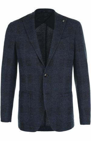 Однобортный пиджак из смеси шерсти и хлопка Sartoria Latorre. Цвет: темно-синий