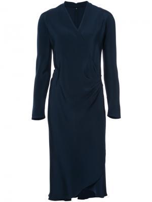 Платье с запахом и длинными рукавами Peter Cohen. Цвет: синий