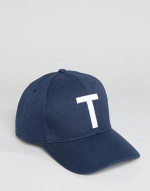 7X Бейсболка с буквой Т. Цвет: темно-синий