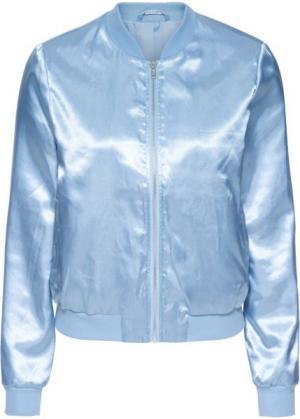 Сатиновый бомбер (нежно-голубой) bonprix. Цвет: нежно-голубой