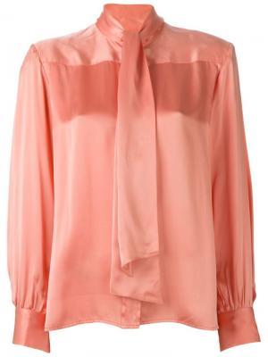 Рубашка с бантом Céline Vintage. Цвет: розовый и фиолетовый
