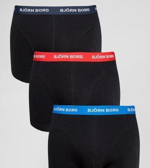 Bjorn Borg Набор из 3 белых боксеров-брифов с контрастным поясом. Цвет: черный
