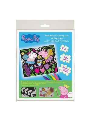 Аппликация и раскраска на бархате Летний сад Пеппы Peppa Pig. Цвет: голубой, зеленый, черный