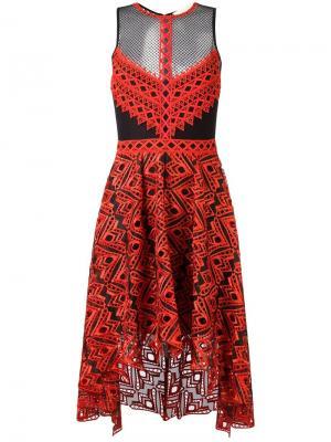 Асимметричное платье с полупрозрачными вставками Jonathan Simkhai. Цвет: красный