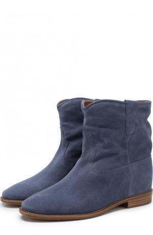Замшевые ботинки с широким голенищем Isabel Marant. Цвет: голубой