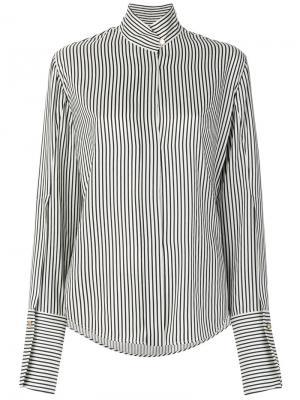 Полосатая рубашка с воротником мандарин Petar Petrov. Цвет: чёрный