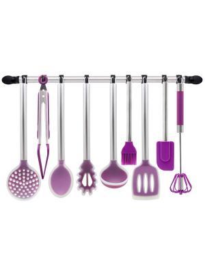 Набор кухонных силиконовых аксессуаров 10 пр. с держателем Borner. Цвет: сиреневый