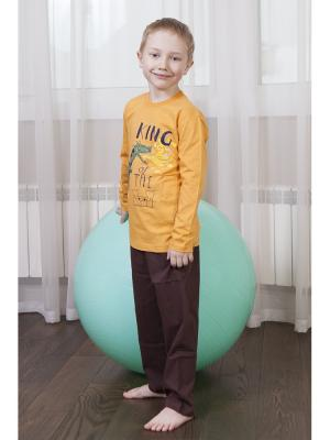 Пижама для мальчиков Oztas kids' underwear. Цвет: темно-коричневый, оранжевый