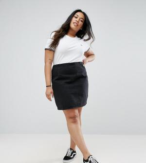 ASOS Curve Черная выбеленная джинсовая мини-юбка. Цвет: черный