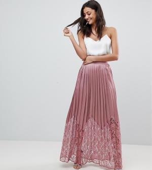 Little Mistress Tall Кружевная плиссированная юбка макси. Цвет: розовый