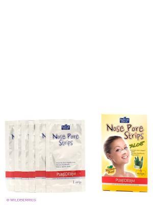 Очищающие полоски для носа Алоэ Purederm. Цвет: желтый