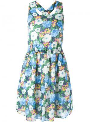 Платье без рукавов с цветочным принтом Carven. Цвет: синий