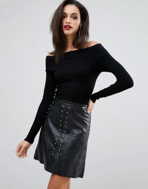 Lipsy Платье с юбкой из искусственной кожи и эффектом 2 в 1. Цвет: черный