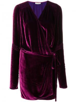 Платье с длинными рукавами и запахом Attico. Цвет: розовый и фиолетовый