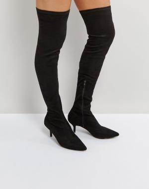 Raid Черные ботфорты на каблуке-рюмочке. Цвет: черный