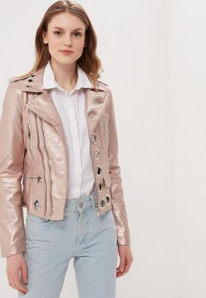 Куртка кожаная Fresh Cotton. Цвет: розовый