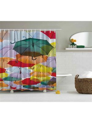 Фотоштора для ванной Разноцветные зонтики, фиолетовые орхидеи, жёлто-красные деревья, ракушка на п Magic Lady. Цвет: зеленый, голубой, красный, оранжевый, желтый