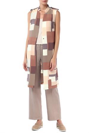 Костюм: жилет, брюки Adzhedo. Цвет: бежевый, квадраты