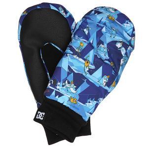 Варежки сноубордические детские DC Flag Mitt Adventure Time Shoes. Цвет: синий,голубой,мультиколор