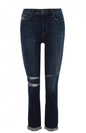 Укороченные джинсы-скинни с потертостями Paige. Цвет: синий