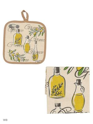 Полотенце льняное Оливковое Масло GrandStyle. Цвет: оливковый