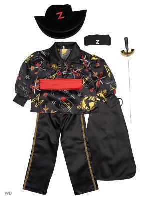 Карнавальный костюм Зорро сказочный  Батик. Цвет: черный, белый, красный