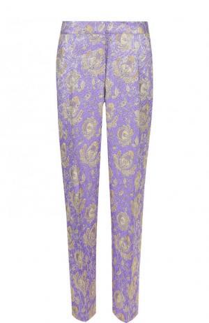 Укороченные жаккардовые брюки с принтом Dries Van Noten. Цвет: фиолетовый